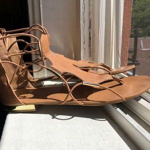ALDO gladiator gold and tan sandal